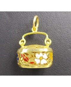 จี้ กระเป๋า ทองลงยา ฉลุลาย ดอกไม้ ทอง90 งานเก่า สวยน่าสะสม นน. 5.86 g