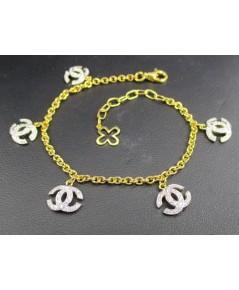 สร้อยข้อมือ เพชร Chanel ตุ้งติ้ง เพชร 100 เม็ด 0.48 กะรัต ทอง18K เพชรสวย เล่นไฟ วิ้ง วิ้ง นน. 5.74 g