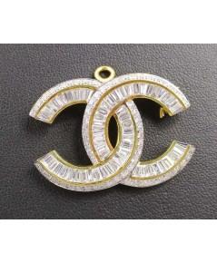 จี้ + เข็มกลัด เพชร Chanel เพชร 119 เม็ด 3.93 กะรัต ทอง90 งานดีไซน์สวยมาก นน. 9.88 g