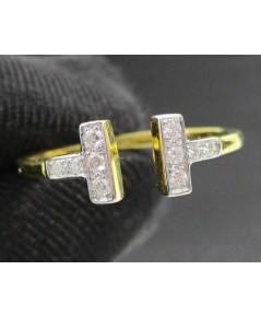 แหวน เพชรตัว T ไขว้ เพชร 10 เม็ด 0.12 กะรัต ทอง90 งานสวย น่ารักมาก นน. 2.18 g