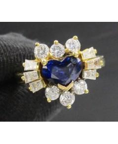 แหวน ไพลิน ทรงหัวใจ 1.16 กะรัต ล้อมเพชร 12 เม็ด 0.82 กะรัต ทอง18K หลุดจำนำ งานสวยมาก นน. 5.56 g