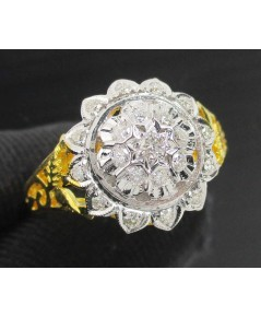 แหวน เพชร กระจุกบัวคว่ำ เพชร 21 เม็ด 0.44 กะรัต งานทอง90 หลุดจำนำ สวยมาก นน. 5.68 g