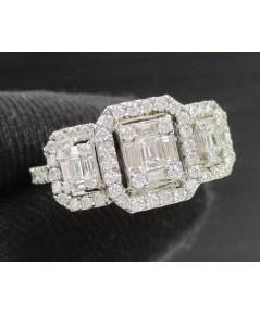 แหวน เพชรประกบ เพชรแทปเปอร์ 15/0.45 ct ล้อมเพชร 64/0.60 ct ทอง18Kขาวงานสวยมาก นน. 2.92 g