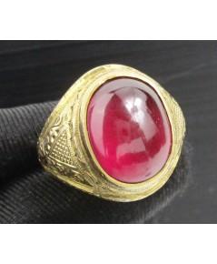 แหวน พลอยแดง หลังเบี้ย แกะลายไทย ทอง95 งานเก่า หลุดจำนำ นน. 8.14 g