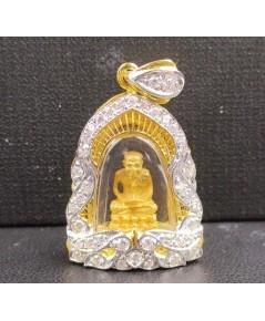 พระหลวงปู่ทวด เนื้อทองคำ กรอบทอง ฝังเพชร 40 เม็ด 0.50 กะรัต นน. 8.23 g
