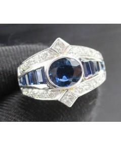 แหวน ไพลิน เจียร ฝังเพชร Princess 2/0.20 ct เพชรข้าง 20/0.40 ct ทอง90 ชุบขาว งานสวยมาก นน. 6.60 g