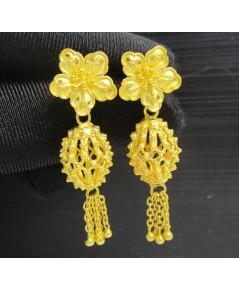ต่างหู ดอกไม้ ลูกสน ฉลุลาย ตุ้งติ้ง ทอง99.99 ทองเก่า งานโบราณ สวยมาก นน. 13.56 g
