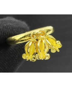 แหวน ดอกรัก 3 ดอก ตุ้งติ้ง ทอง99.99 งานเก่า ทองโบราณ size53 นน. 6.38 g