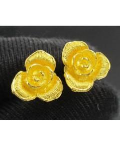 ต่างหู ดอกกุหลาบ ทอง99.99 ทองเก่า งานโบราณ สวยมาก นน. 3.98 g