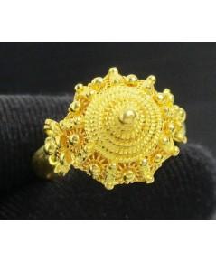 แหวน กระดุม ดอกบัว สัตตบงกช ทอง99.99 ทองเก่า งานโบราณ size55 นน. 9.98 g