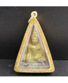 พระหลวงพ่อโต  บางพลี  เนื้อดิน หน้ากากทอง เลี่ยมทองเก่า นน. 24.93 g