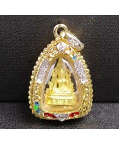 พระพุทธชินราช เนื้อทองคำ เลี่ยมทองลงยา ฝังพลอยขาว นน. 6.00 g