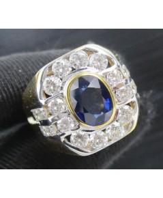 แหวน ไพลิน เจียร ล้อมเพชร 8/0.80 ct ฝังเพชร 12/0.64 ct ทอง90 เพชรขาว พลอยสวย นน. 12.41 g