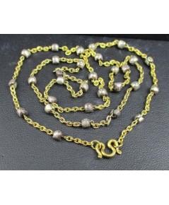 สร้อยคอ ลายโซ่ คั่นเม็ดประคำ รอบเส้น ทอง90 ทองเก่า งานโบราณ สวยมาก นน. 19.36 g