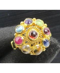 แหวน พลอยนพเก้า ทรงพุ่ม ทอง18K หลุดจำนำ งานสวยมาก นน. 6.42 g