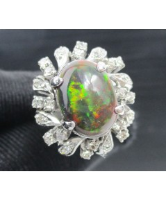 แหวน Black Opal ล้อมเพชรกุหลาบ 2 ชั้น 32 เม็ด 0.40 กะรัต งานทองขาวโบราณ(ปาหะ) นน. 6.79 g