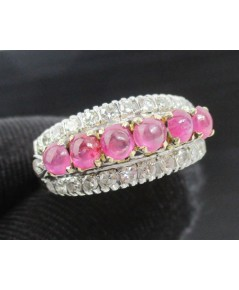 แหวน ทับทิม หลังเบี้ย ฝังเพชรกุหลาบ 26 เม็ด 0.40 กะรัต ทองK 2 สี งานเก่า หลุดจำนำ นน. 5.23 g