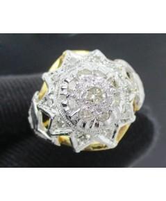 แหวน เพชรทรงบัวคว่ำ 19 เม็ด 0.29 กะรัต ทองK 2 สี งานเก่า หลุดจำนำ นน. 4.10 g