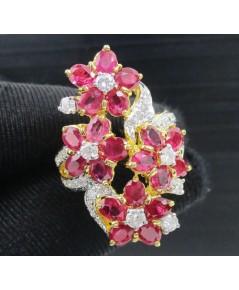 แหวน ทับทิม สยาม จันทบุรี  ฝังเพชร 39 เม็ด 0.67 กะรัต ทอง90 งานสวยมาก นน. 9.68 g