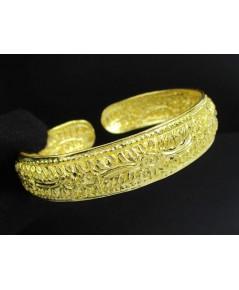 กำไล ซาโฟน่า ตอกลาย ดอกไม้ ทอง99.99 ทองเก่า งานโบราณ สวยมาก นน. 15.82 g