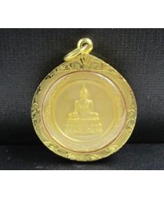 เหรียญ หลวงพ่อวัดไร่ขิง วัดไร่ขิง สามพราน กะไหล่ทอง ปี 2544 เลี่ยมทองเก่า นน. 13.58 g