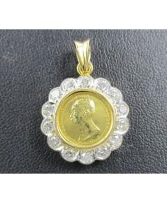 เหรียญทองคำ รัชกาลที่5  รัตนโกสินทร์ศก 112 เลี่ยมทอง ล้อมเพชร เบลเยี่ยม 14 เม็ด 0.95 กะรัต นน. 4.30