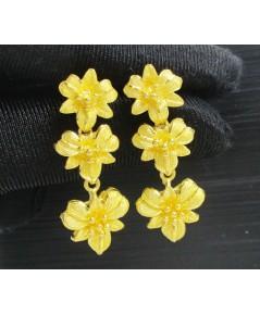 ต่างหู ทอง99.99 ดอกกล้วยไม้ ระย้า ตุ้งติ้ง ทองเก่า งานโบราณ สวยมาก นน. 12.48 g