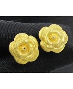ต่างหู ทอง99.99 ลายดอกกุหลาบ ทองเก่า งานโบราณ สวยมาก นน. 7.54 g