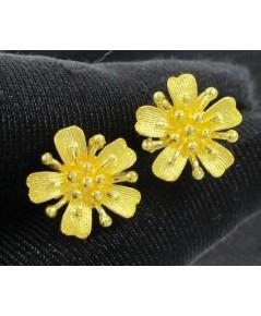 ต่างหู ทอง99.99 ดอกไม้ เกสร ทองเก่า งานโบราณ สวยมาก นน. 6.04 g