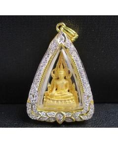พระพุทธชินราช เนื้อทองคำ กรอบทอง ฝังเพชร 58 เม็ด 0.46 กะรัต นน. 11.30 g