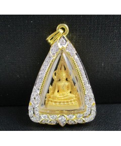 รหัสสินค้า 50297  พระพุทธชินราช เนื้อทองคำ กรอบทอง ฝังเพชร 58 เม็ด 0.46 กะรัต นน. 11.18 g