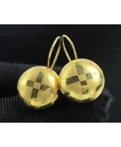 ต่างหู เม็ดกระดุม ตัดลาย ทอง90 ตะขอเบ็ด งานเก่า หลุดจำนำ สวยมาก นน. 1.75 g