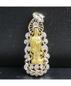 เจ้าแม่กวนอิม เนื้อทองคำ กรอบทอง ฉลุลาย ฝังเพชร 26 เม็ด 0.15 กะรัต นน. 7.28 g