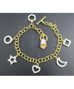 สร้อยข้อมือ แฟนซี ตุ้งติ้ง ฝังเพชร 135 เม็ด 0.72 กะรัต ทอง90 งานสวยมาก นน. 15.72 g