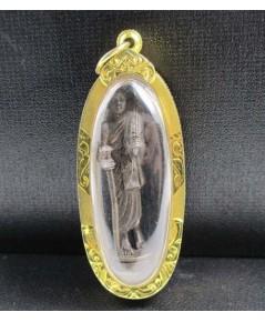 พระสิวลี กะไหล่ทอง ลอยองค์ เลี่ยมทองเก่า นน. 15.58 g