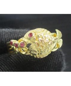 แหวน กล ปลา ฝังทับทิม ทอง90 งานเก่า หลุดจำนำ สวยมาก นน. 6.42 g