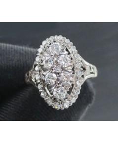 แหวน เพชรโบราณ 6/0.50 ct ล้อมเพชรกุหลาบ 20/0.20 ct ทองK 2 สี งานสวยมาก นน. 4.04 g