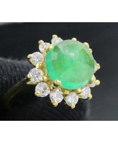 รหัสสินค้า: 50699 แหวน มรกต เจียร ล้อมเพชรเกสร 12 เม็ด 0.24 กะรัต ทอง90 งานสวยมาก นน. 3.30 g