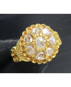 รหัสสินค้า: 50716 แหวน เพชรซีก กระจุกดอกจอก ทอง90 งานเก่า หลุดจำนำ สวยมาก นน. 6.74 g