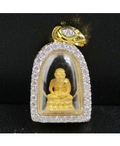 รหัสสินค้า: 50719 พระหลวงปู่ทวด เนื้อทองคำ กรอบทอง ล้อมเพชร 31 เม็ด 0.41 กะรัต สวยน่าสะสม นน. 5.00 g