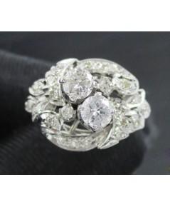 แหวน เพชรชูโบราณ 2/0.35 ct เพชรกุหลาบ 22/0.22 ct งานทองขาวโบราณ(ปาหะ) นน. 4.10 g