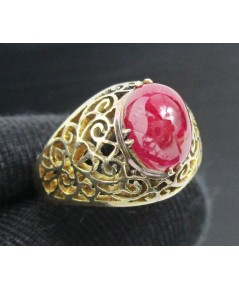 แหวน ทับทิม หลังเบี้ย ฉลุลาย ทองK งานเก่า หลุดจำนำ สวยมาก นน. 3.25 g