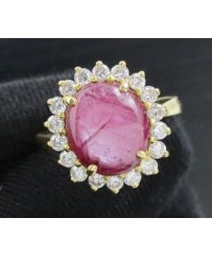 แหวน ทับทิมพม่า หลังเบี้ย ล้อมเพชรเกสร 18 เม็ด 0.36 กะรัต ทอง90 หลุดจำนำ งานสวยมาก นน. 5.96 g