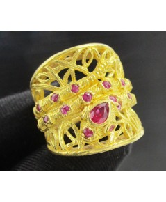 แหวน งู ฉลุลาย ฝังทับทิม ทอง96.5 งานสวยมาก นน. 22.86 g