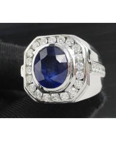 แหวน ไพลิน เจียร ล้อมเพชร 20/0.80 ct ฝังเพชรข้าง 10/0.30 ct ทอง18 Kขาว งานสวยมาก นน. 17.85 g