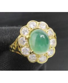 แหวน หยก หลังเบี้ย ล้อมพลอยขาว ทอง90 งานสวยมาก นน. 5.80 g