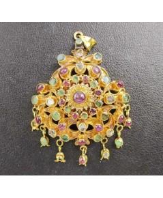 จี้ อุบะ 3 สี ทับทิม มรกต เพชรซีก ฉลุลาย ตุ้งติ้ง ทอง90 งานสวยมาก นน. 16.04  g
