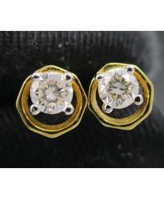ต่างหู เพชรเดี่ยว ทรง8เหลี่ยม เพชร 2 เม็ด 0.44 กะรัต ทอง18K งานสวยมาก นน. 2.99 g