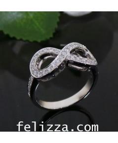 แหวนอินฟินิตี้ ประดับเพชรแท้เบลเยี่ยมคัท RI00493-228 (HSKE)