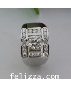 แหวนผู้ชาย ประดับเพชรแท้เบลเยี่ยมคัท RI00495-229 (ENFN)